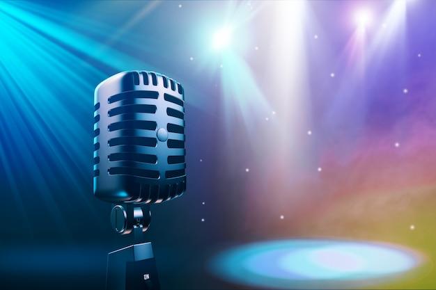 Fundo musical sem costura com ilustração 3d de microfone vintage