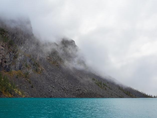 Fundo natural místico alpino com nevoeiro de manhã cedo. silhuetas de pinheiros pontiagudos na encosta ao longo do lago de montanha em nevoeiro denso.