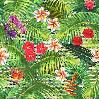 Fundo natural plantas exóticas tropicais, folhas verdes, ramos e flores brilhantes em fundo preto e branco listrado ilustração de aquarela mão desenhada padrão sem emenda f