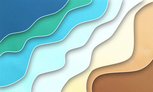 Fundo ondulado de corte de papel colorido