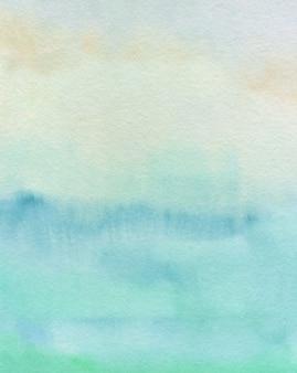 Fundo pastel abstrato aquarela, textura pintada à mão, manchas azuis e verdes de aquarela