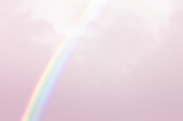Fundo pastel com arco-íris branco