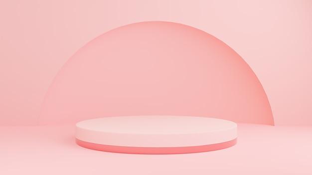 Fundo pastel rosa pódio ou pano de fundo para apresentação de produtos cosméticos.