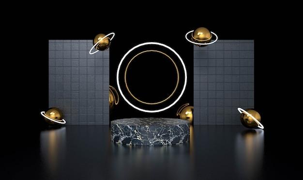 Fundo preto abstrato com pódio de forma geométrica para o produto. renderização 3d.