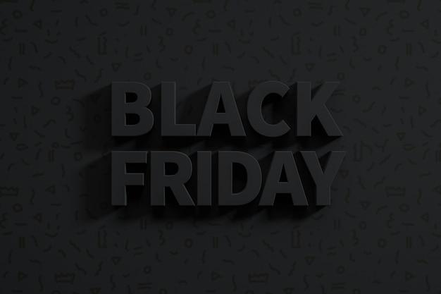 Fundo preto abstrato de sexta-feira com texto 3d. renderização 3d