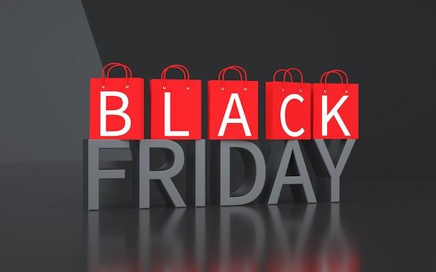 Fundo preto abstrato sexta-feira com sacola de compras. renderização 3d