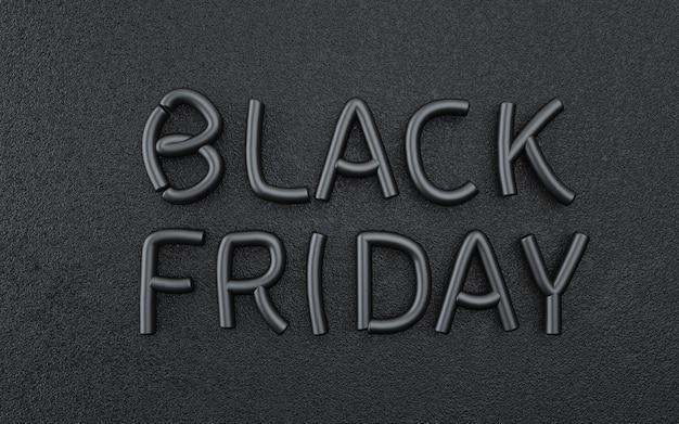 Fundo preto abstrato sexta-feira com texto de luxo. renderização 3d