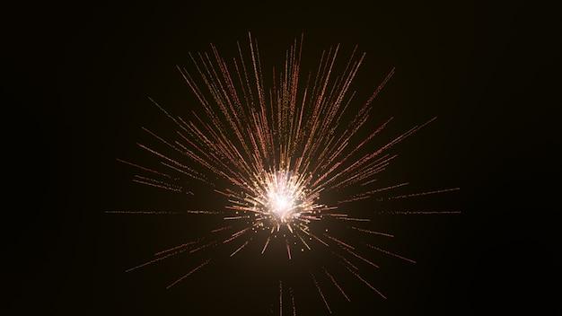 Fundo preto, as partículas são ondas de luz em ouro amarelo.