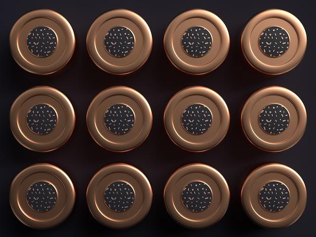 Fundo preto cobre forma abstrata padrão de renderização em 3d