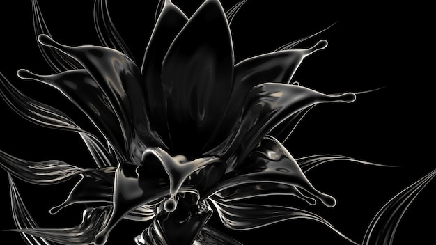 Fundo preto com esguicho de líquido. ilustração 3d