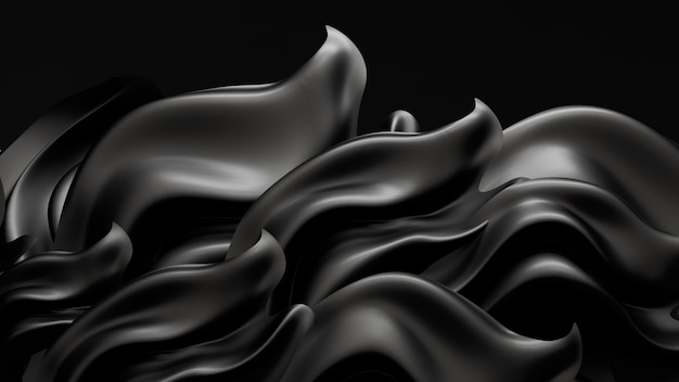 Fundo preto com tecido para cortinas. ilustração 3d