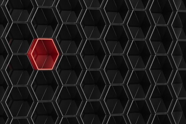 Fundo preto do hexágono com elemento vermelho. ilustração 3d