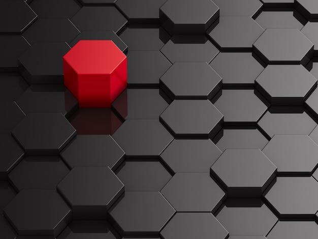 Fundo preto do hexágono com elemento vermelho