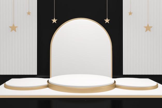 Fundo preto e design vazio cena de produto de design mínimo de pódio branco e dourado. renderização 3d