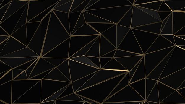 Fundo preto e dourado triângulos abstratos