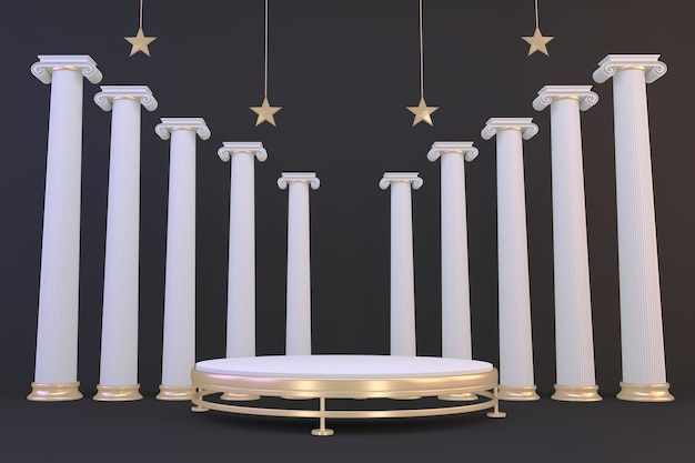 Fundo preto e pódio dourado mostram produtos cosméticos geométricos. renderização 3d