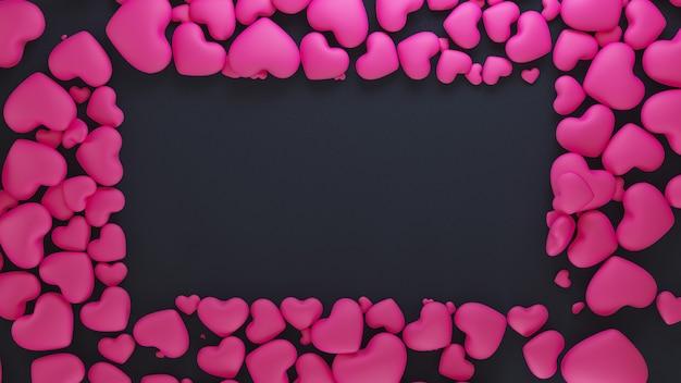 Fundo preto elegante com moldura de corações rosa.