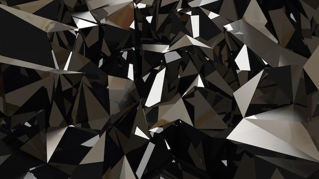 Fundo preto metálico com triângulos e cristais. renderização em 3d.