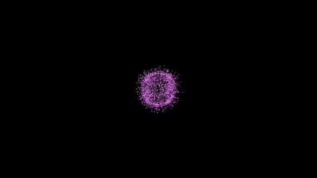 Fundo preto minimalista com bola rosa brilhante na esfera de luz magenta central