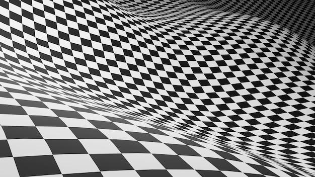 Fundo quadriculado abstrato preto e branco quadrados ilusão de ótica renderização background.3d