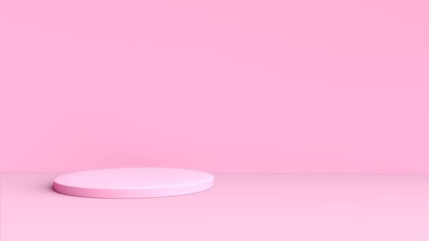 Fundo rosa 3d com formato circular