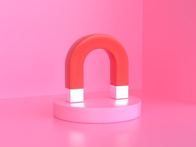 Fundo rosa 3d render vermelho ímã