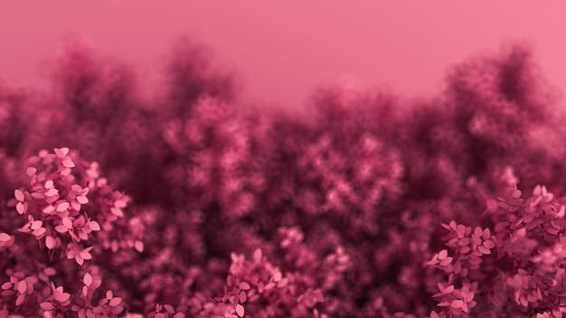 Fundo rosa bonito com folhas, estação do ano. renderização em 3d.