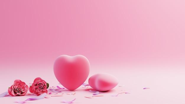 Fundo rosa com corações vermelhos e flores de pétalas, renderização em 3d