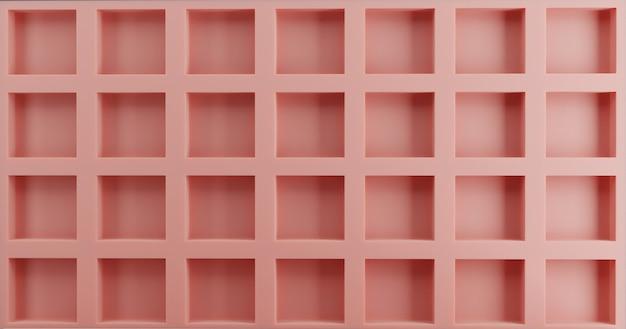 Fundo rosa da parede da grade. parede de acento de tábua e sarrafo. 3d render