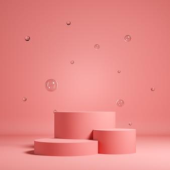 Fundo rosa pastel para apresentação de produtos composto por três cilindros com bolas de vidro. ilustração de renderização 3d.