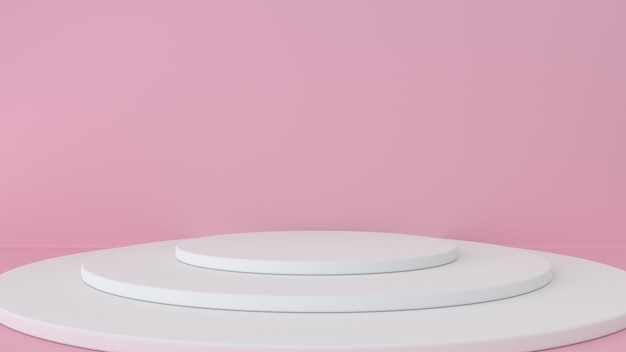 Fundo rosa studio e pedestal. plataforma para exibição de produtos de beleza.