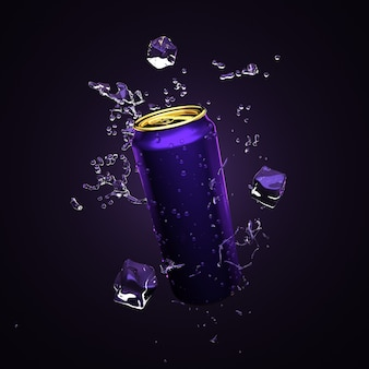 Fundo roxo, azul alegre com uma bebida em latas de alumínio. bebida, bebida, restaurante, álcool, água, misturar, bar, refrigerante, cola, fruta, latas de alumínio, embalagens, ilustração 3d, renderização em 3d