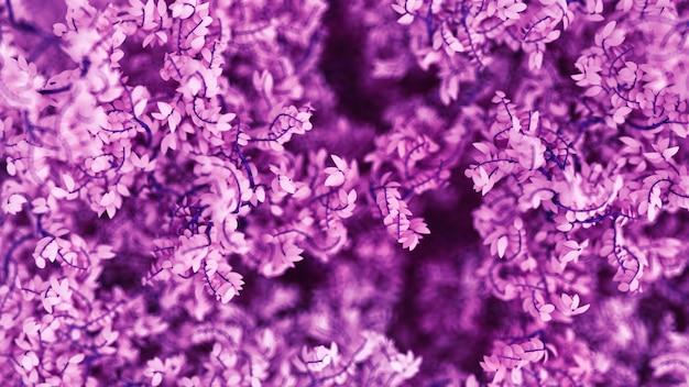 Fundo roxo bonito com folhas, estação do ano. renderização em 3d.