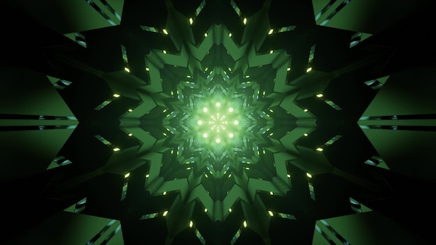 Fundo sci fi abstrato de ilustração 3s com enfeite de flor de caleidoscópio geométrico simétrico e luzes de néon brilhantes, criando uma perspectiva de túnel de cor verde