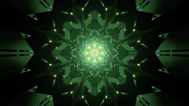 Fundo sci fi abstrato de ilustração 3s com enfeite de flor de caleidoscópio geométrico simétrico e luzes de néon brilhantes