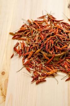 Fundo secado das pimentas de pimentão. tempero de comida tailandesa.