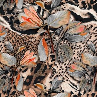 Fundo sem costura têxtil de pele de animal selvagem africano com flores de browm