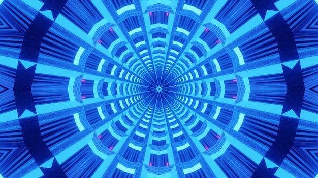 Fundo surreal de fractal cintilando com luz de néon azul brilhante
