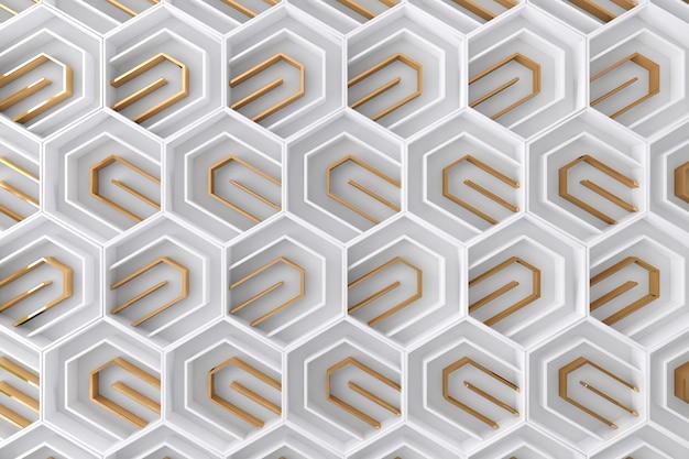 Fundo tridimensional branco e dourado