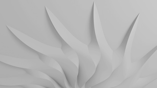 Fundo tridimensional paramétrico abstrato moderno de um conjunto de pétalas tridimensionais brancas ondulantes que convergem em um centavo. ilustração 3d
