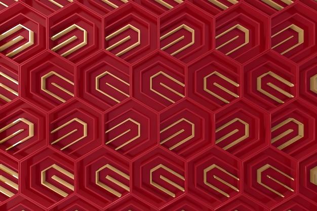 Fundo tridimensional vermelho e dourado