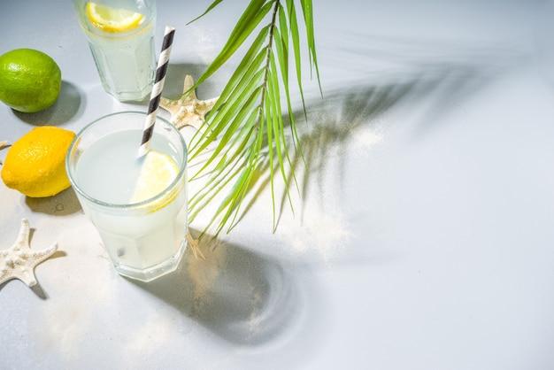Fundo tropical de férias de férias de verão com bebidas de limonada. coquetel de mojito com fortes sombras claras e escuras, em um fundo tropical com estrela do mar, folhas de palmeira copiar espaço para texto