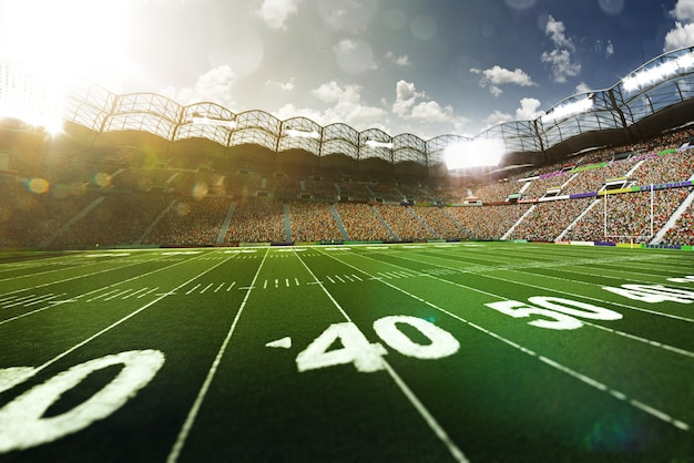 Fundo vazio do campo de futebol americano