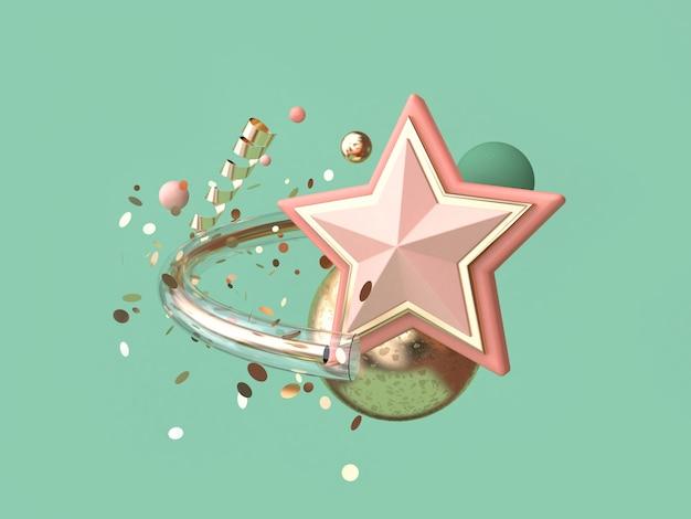 Fundo verde abstrato estrela rosa muitos objeto decoração flutuante natal