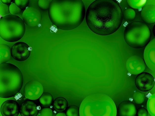 Fundo verde de bolas de natal
