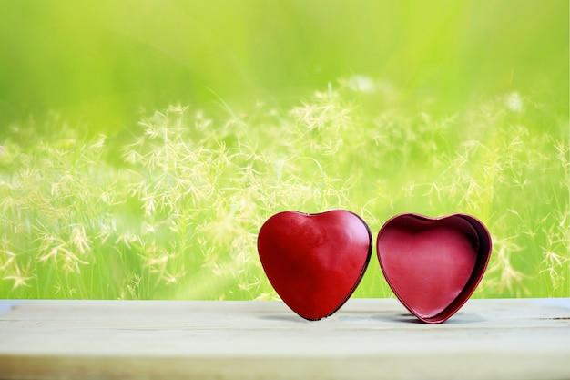 Fundo verde natural de coração vermelho