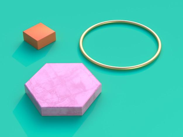 Fundo verde rosa hexágono ouro círculo laranja quadrado renderização em 3d