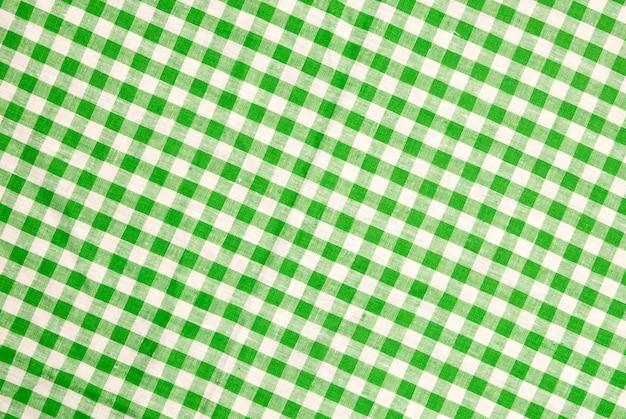 Fundo verde toalha de mesa quadriculada