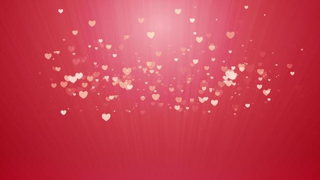 Fundo vermelho, assinatura digital com partículas cintilantes em forma de coração.