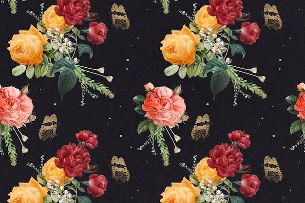 Fundo vintage com rosas coloridas